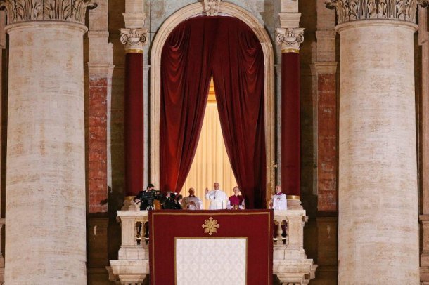 Newly elected Pope Francis Cardinal Jorge Mario Bergoglio of Argentina appears on the balcony of St. Peter's Basilica at the Vatican