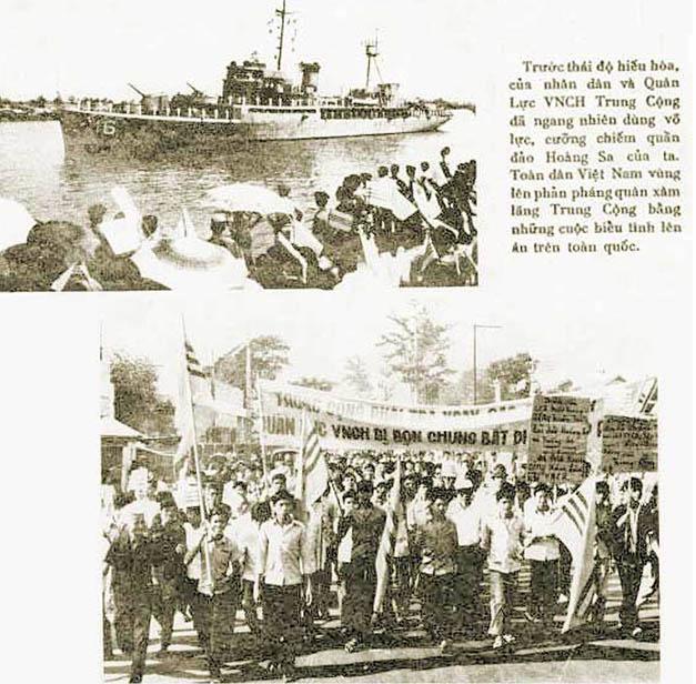 Người dân miền Nam biểu tình phản đối Trung Quốc đánh chiếm Hoàng Sa, năm 1974