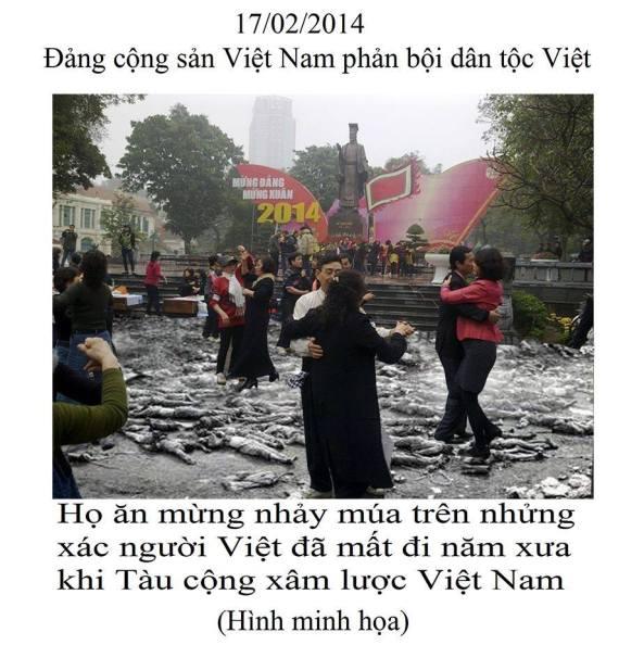 Một lũ điên cuồng ca hát nhảy múa trên sự đau thương của dân tộc Việt Nam. Một nhát dao đâm sau lưng nhửng người lính đã đổ máu ra để bão vệ giống nòi (FB Thiên Thần Mủ Đỏ )
